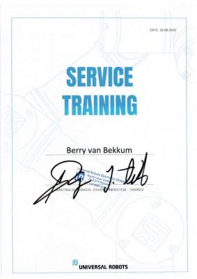 Universal Robotics certified service mechanics
